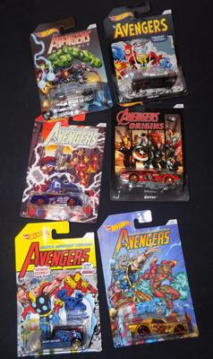 Six Avengers Hot Wheels cars
