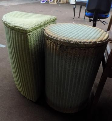 Two Lloyd Loom style wash baskets