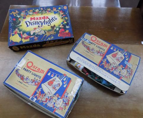 Three sets of vintage Christmas lights, incl. Disney lights