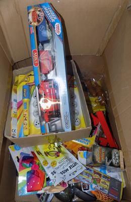 Box of mixed toys, incl. Thomas Track Masters