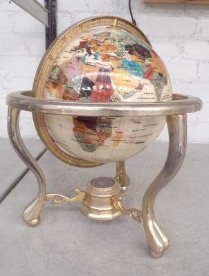 Heavy globe on brass stand