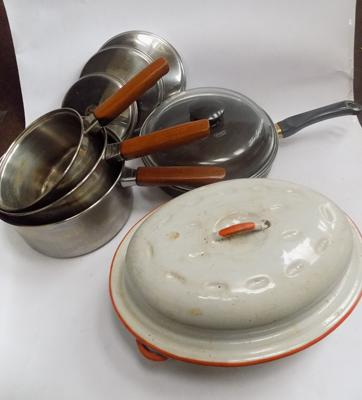 Selection of pans incl. Pyrex and Prestige