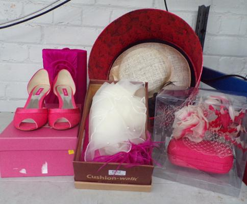 Selection of ladies wedding hats, shoes and accessories