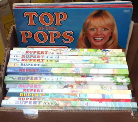 Box of Rupert annuals and LP records