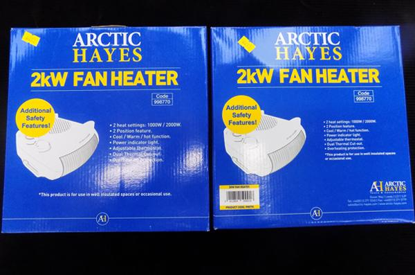 2 x new, unboxed, 2 kw fan heaters