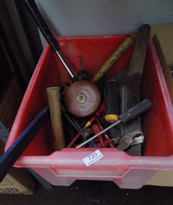 Red tub of tools, incl. leather bound tape measure