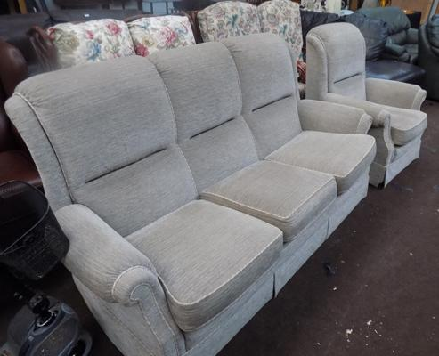 Three seater sofa & chair