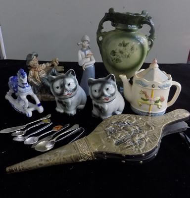 Tea pot, vase, five ornaments, spoons & bellows