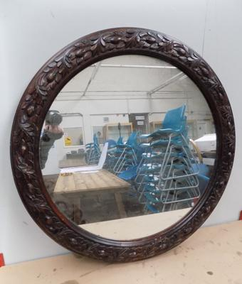Ornate wooden framed mirror