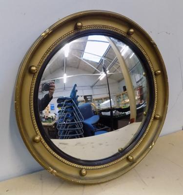 Antique French Regency style convex glass porthole mirror