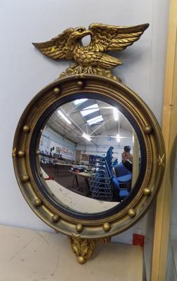 Antique French Regency style convex glass porthole & eagle mirror