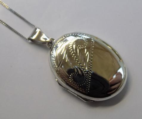 Silver locket on silver chain