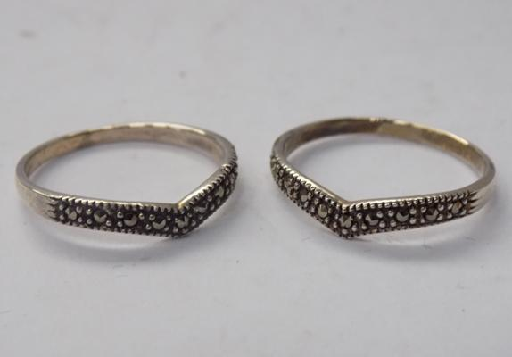 Pair of silver & marcasite rings