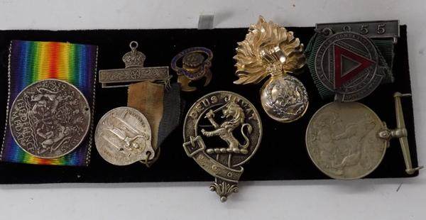 Selection of medals & badges - cap badges etc...