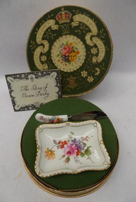 Royal Crown Derby plate and knife - boxed
