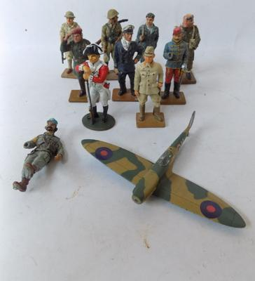 Collection of 10 collectors metal soldiers 2.5 inches tall + 1 plane