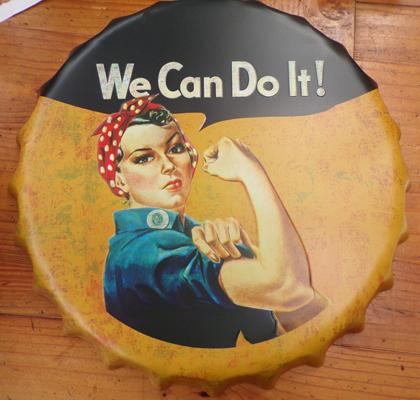 "14"" tin plate 'We can do it' advertising sign"