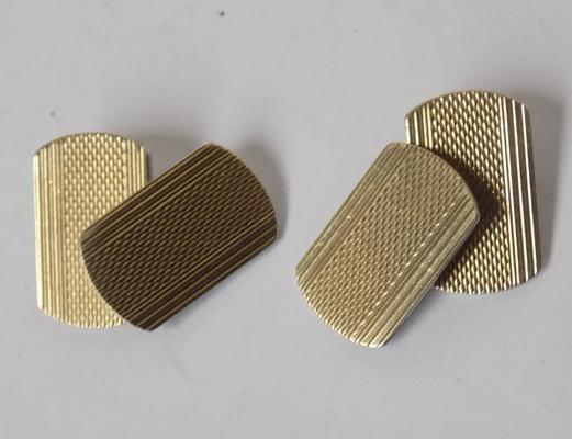 Pair of vintage 9ct gold on silver cufflinks with engine turn pattern