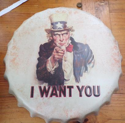 "14"" tin plate 'I want you' advertising sign"
