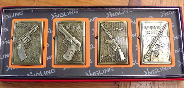 4 petrol lighters with gun designs