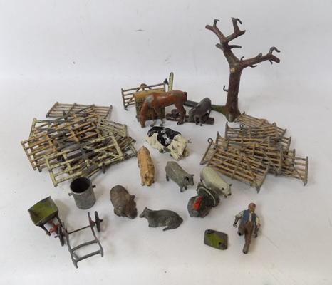 Collection of 1940's Charbens & Britains metal farm animals & accessories