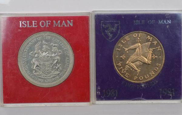 Isle of Man £5 coin + Isle of Man coin