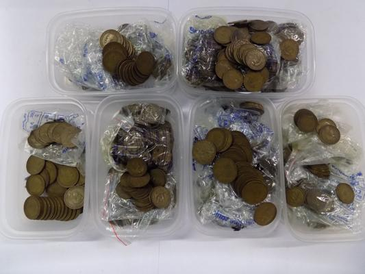 6 tubs of coins, incl. pre-decimal