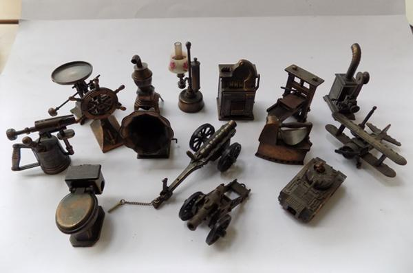 Collection of bronzed novelty pencil sharpeners