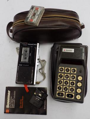 Vintage Bowmar calculator and Olympus pearlcorder