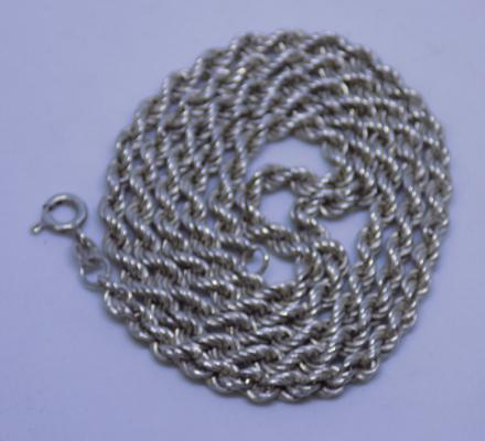"24"" sterling silver rope twist neck chain - full Birmingham import marks"