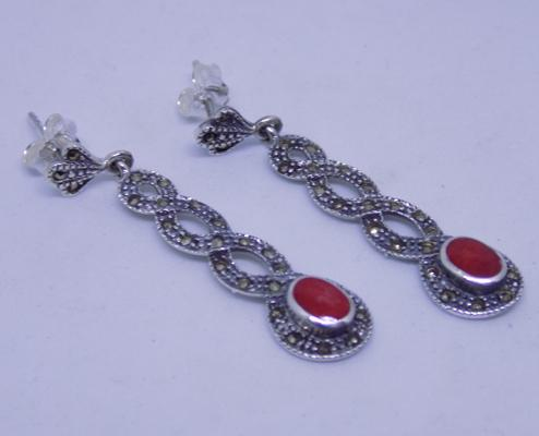 Pair of silver and marcasite earrings