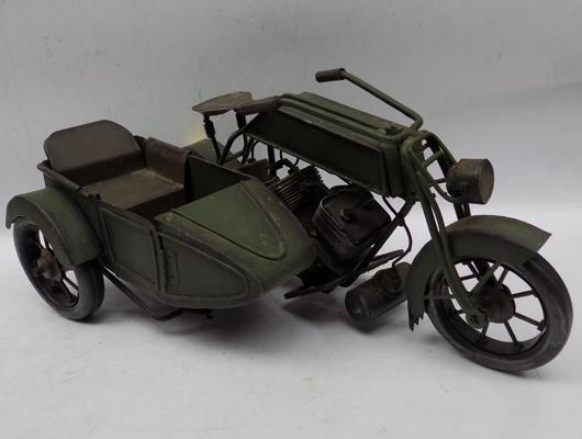 Tin plate motorbike and sidecar model - good quality