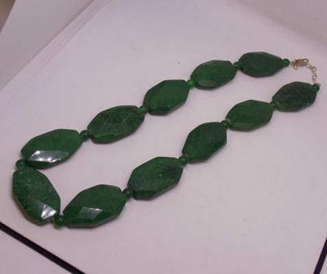 Silver and green gemstone necklace