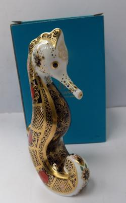 Royal Crown Derby Imari sea horse in box with gold stopper