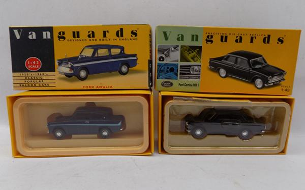 2 Vanguards box cars - 1.43 Ford Cortina MK1 and 1.43 Ford Anglia
