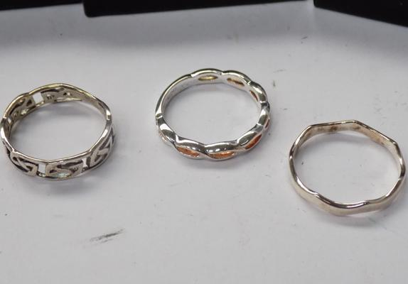 3 x silver rings