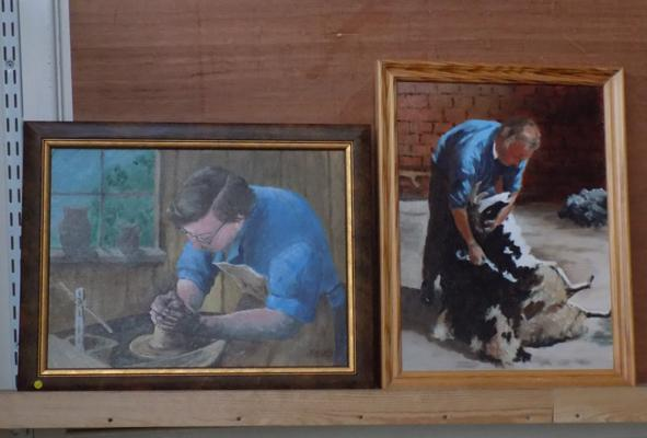 Pair of oil paintings, 'Shearing the Sheep', 'The Potter' by the late Kathleen Nunn