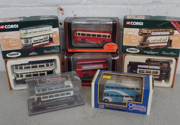Six boxed collectable diecast buses + trams, incl. Corgi etc...