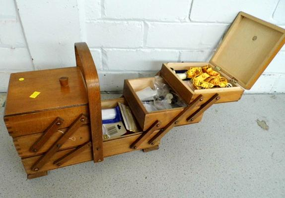Vintage sewing box full of needle craft
