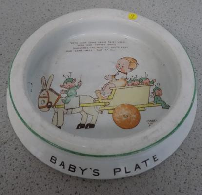 Large Shelley baby plate with Mabel Lucie Attwell design