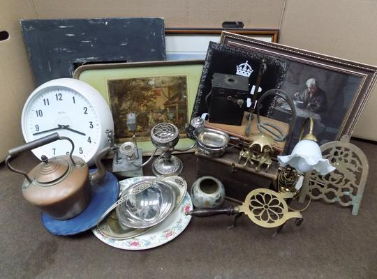Large box of antique & vintage items inc copper kettle, brass, framed mirror etc