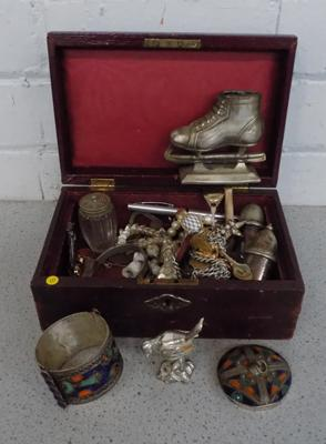 Wooden box containing costume jewellery & other collectables