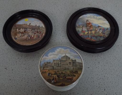Three pot lids, two framed, one with base