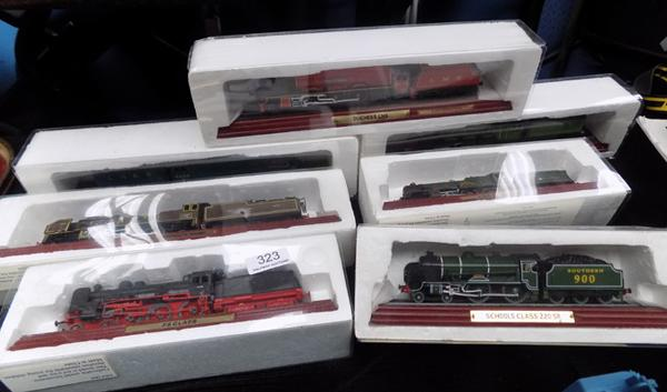 Seven mounted model railway engines '00' scale