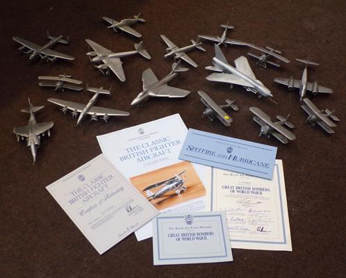 Classic British fighter aircraft collection x 12, pewter + three in set, incl. authenticity certificates