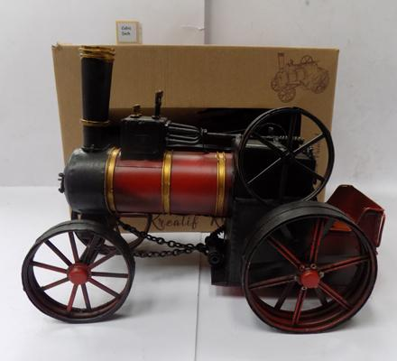 Hand painted tin plate traction engine