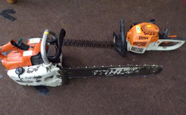 Stihl petrol chainsaw & Stihl petrol hedgecutter, both need servicing, sold as seen but working in last 12 months