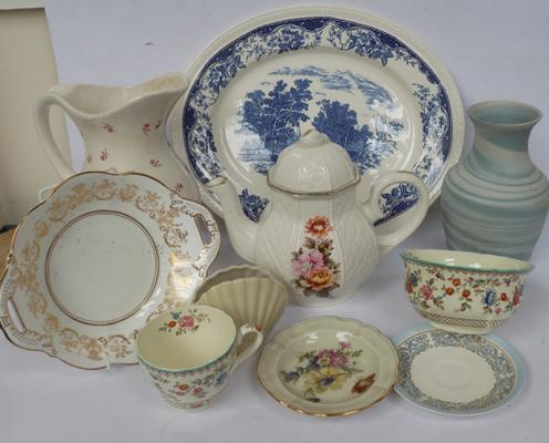 Box of vintage pottery and ceramics incl. Meakin, Coalport, Spode, Arthur Wood, Crown Derby etc.