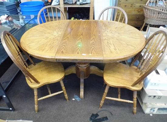 Table and four spindle back chairs