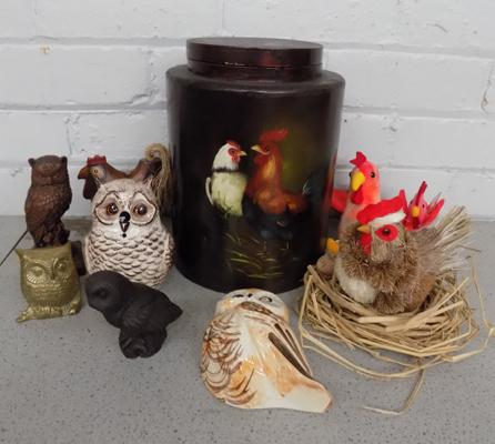 Box of hens and owls